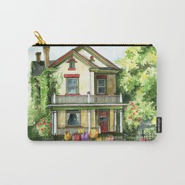 Farmhouse with Spring Tulips Carry-All Pouch