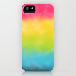 Pink yellow lime green aqua watercolor stripes iPhone Case