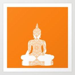 Yoga Art Buddha silhouette in orange Art Print