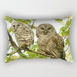 Barred owl mother and child Rectangular Pillow