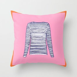 FRENCH STRIPED SHIRT Throw Pillow