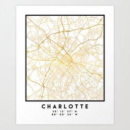 CHARLOTTE NORTH CAROLINA CITY STREET MAP ART Art Print