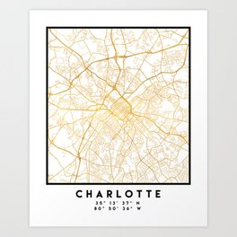 CHARLOTTE NORTH CAROLINA CITY STREET MAP ART Art Print