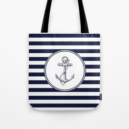 Anchor and Navy Blue Stripes Tote Bag