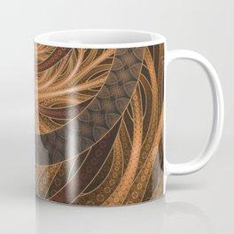 Earthen Brown Circular Fractal on a Woven Wicker Samurai Coffee Mug