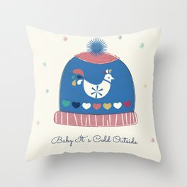 Baby it's cold outside- winter hat Throw Pillow