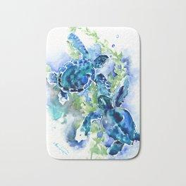 Sea Turtle Turquoise Blue Beach Underwater Scene Green Blue design Bath Mat