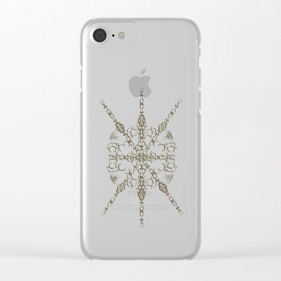 Gold Teal Mandala Clear iPhone Case