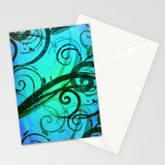 Blue Rustic Swirls Stationery Cards