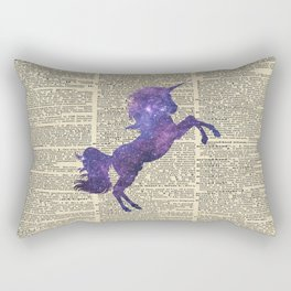 Glaxy Unicorn on Vintage Dictionary Page Rectangular Pillow