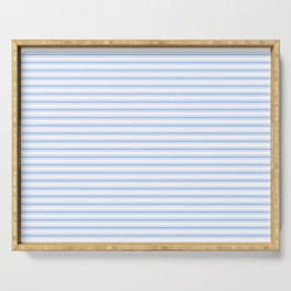 Mattress Ticking Narrow Horizontal Stripe in Pale Blue and White Serving Tray