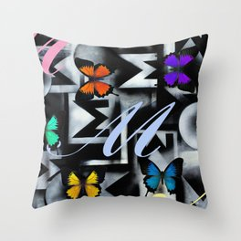 Monarch Butterfly Modern Abstract Painting Rainbow Art Throw Pillow