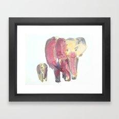 Sunset Elephants Framed Art Print