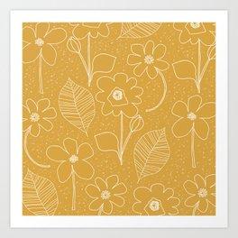 Retro flowers in mustard Art Print