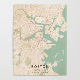 Boston, United States - Vintage Map Poster