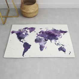 Purple World Map Rug
