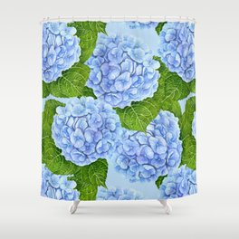 Blue hydrangea watercolor pattern Shower Curtain