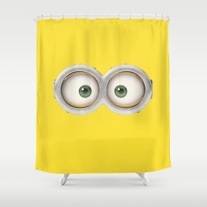 Googly Eyes Minion Shower Curtain