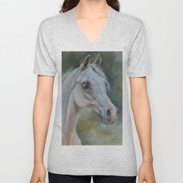 Gray Arabian Horse portrait Arab Horse head oil painting Unisex V-Neck