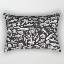 Aquatic I: White on Black Rectangular Pillow