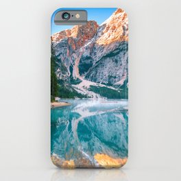 Misty Lake and Snow-cap Mountain Reflections Landscape Photograph iPhone Case