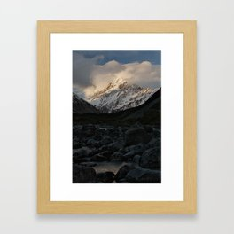 mount cook during golden hour Framed Art Print