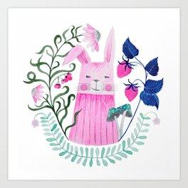 pink rabbit watercolor illustration Art Print