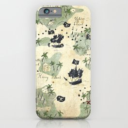 Hand Drawn Pirate Map iPhone Case