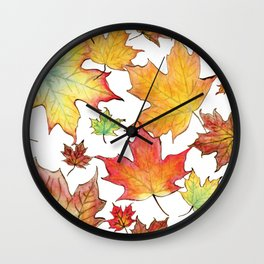 Autumn Maple Leaves Wall Clock