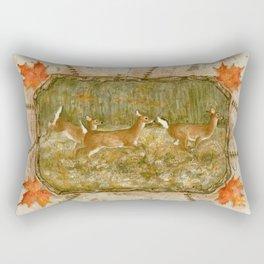Three Deer In Meadow Rectangular Pillow