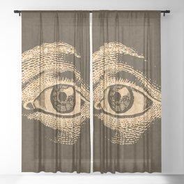 Grunge Vintage Eye Pattern Industrial Sheer Curtain