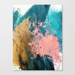 Coral Reef [1]: colorful abstract in blue, teal, gold, and pink Leinwanddruck