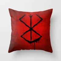 berserk Throw Pillows featuring The Berserk Addiction by DesignDinamique