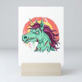 Zombicorn Zombie Unicorn Undead Scary Halloween design Mini Art Print