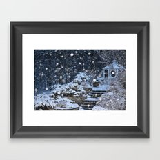 Gazebo, Snowy Night Framed Art Print