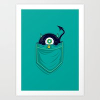 pocket Art Prints featuring Pocket Monster by Steven Toang