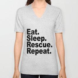 Eat Sleep Rescue Repeat Unisex V-Neck
