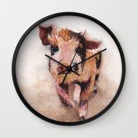 pig Wall Clocks featuring Pig by Bridget Davidson