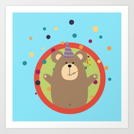 Party Bear with Spots in cirlce Art Print