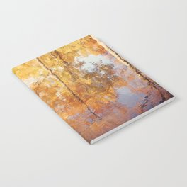 Autumn Trees Reflection Photography, Fall Tree Nature Orange Gold Yellow Purple, Water Reflections Notebook