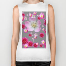 FUCHSIA PINK & RED ROSES ON GREY Biker Tank