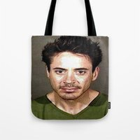 robert downey jr Tote Bags featuring Robert Downey Jr. Mugshot by Neon Monsters