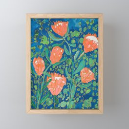 Coral Proteas on Blue Pattern Painting Framed Mini Art Print