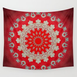 Bright Red Mandala Wall Tapestry