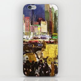 Bustling Big City New York landscape painting by George Wesley Bellows iPhone Skin