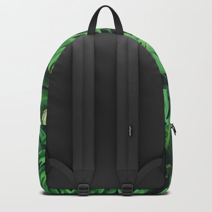 Monstera leaf jungle pattern - Philodendron plant leaves background Backpack
