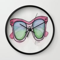 sunglasses Wall Clocks featuring Sunglasses. by Alexis Pilato