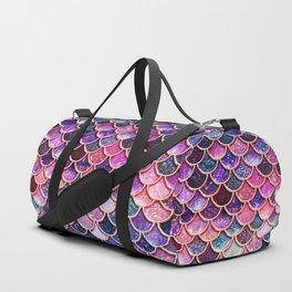 Pink & Purple Trendy Glitter Mermaid Scales Duffle Bag