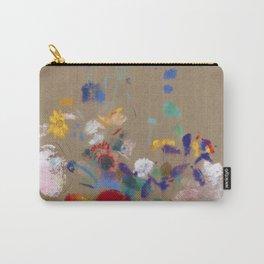 "Odilon Redon ""Flowers on a grey background (Fleurs sur fond gris)"" Carry-All Pouch"
