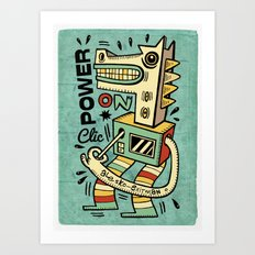 Power on - blue Art Print